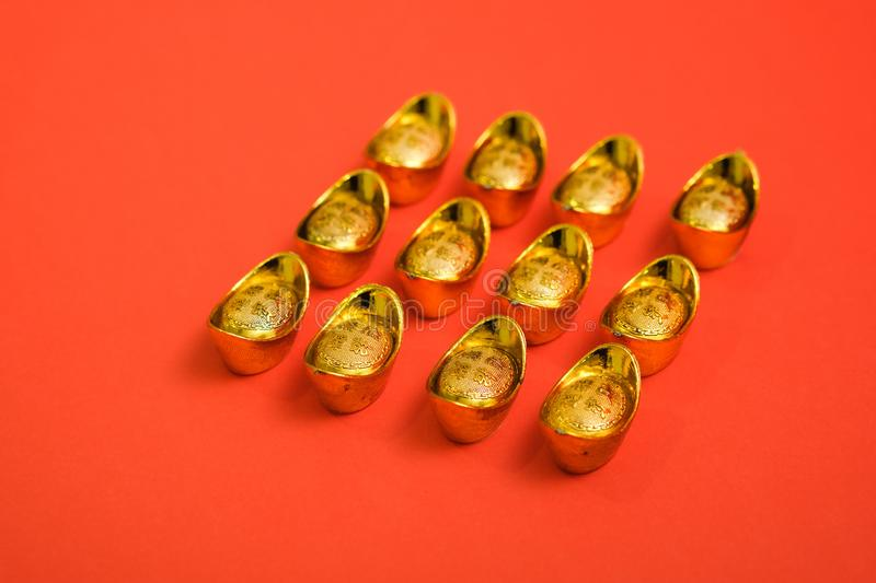 Gold Ingot for Chinese New Year stock images