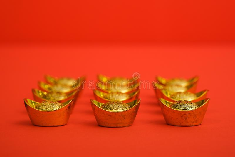 Gold Ingot for Chinese New Year stock image