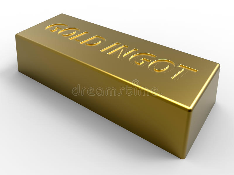 Gold ingot. 3D rendered illustration of a gold ingot isolated on a white background with soft shadows stock illustration