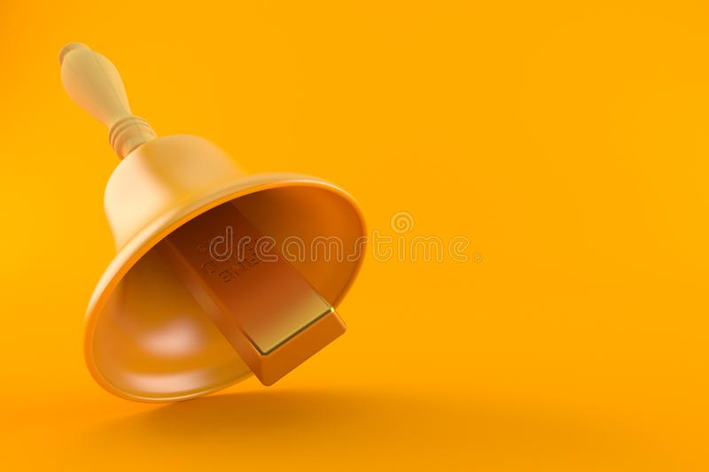Gold ingot with hand bell. Isolated on orange background. 3d illustration stock illustration