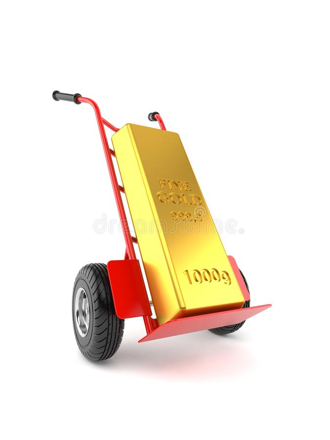 Gold ingot with hand truck. Isolated on white background. 3d illustration stock illustration