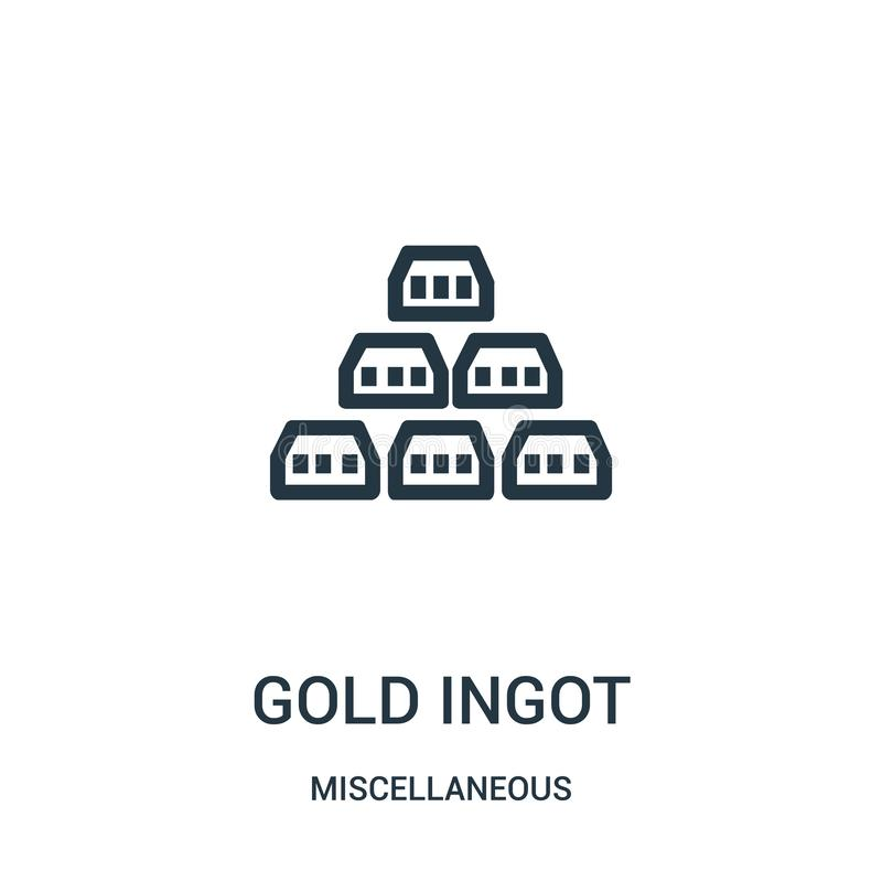 gold ingot icon vector from miscellaneous collection. Thin line gold ingot outline icon vector illustration. Linear symbol for use stock illustration
