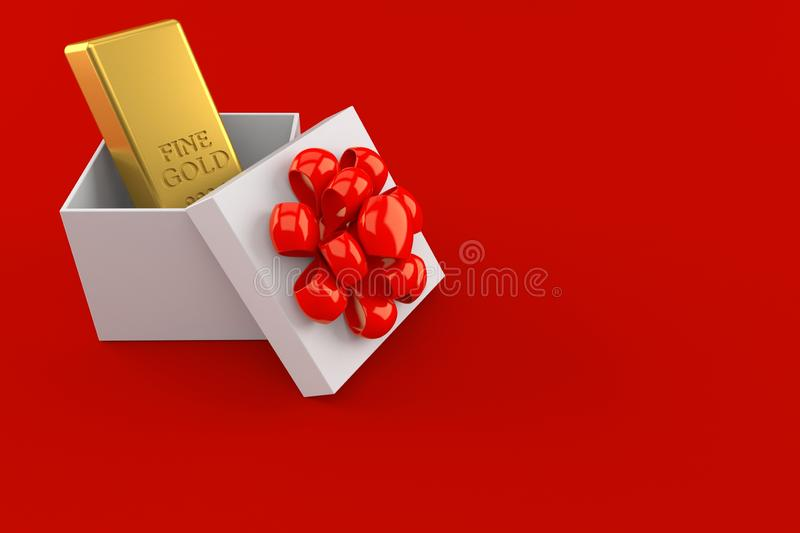 Gold ingot inside gift. Isolated on red background. 3d illustration royalty free illustration