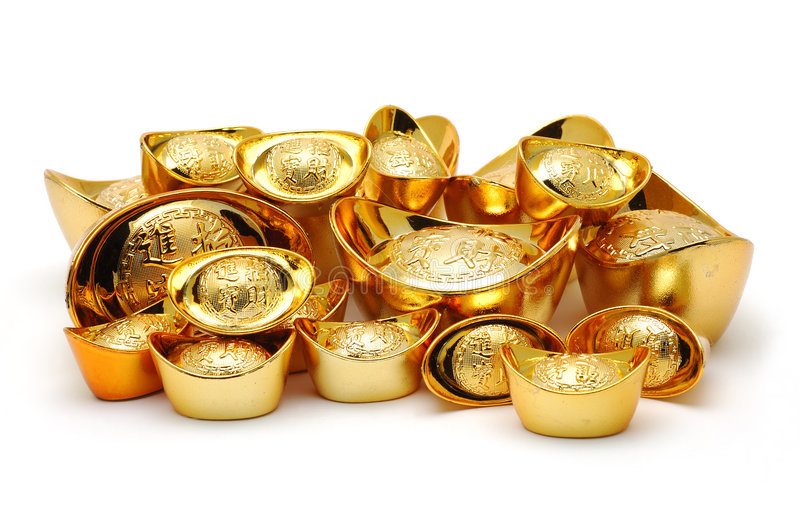 Gold Ingot Ornaments Royalty Free Stock Image