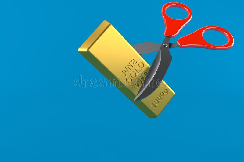 Gold ingot with scissors. Isolated on blue background. 3d illustration royalty free illustration