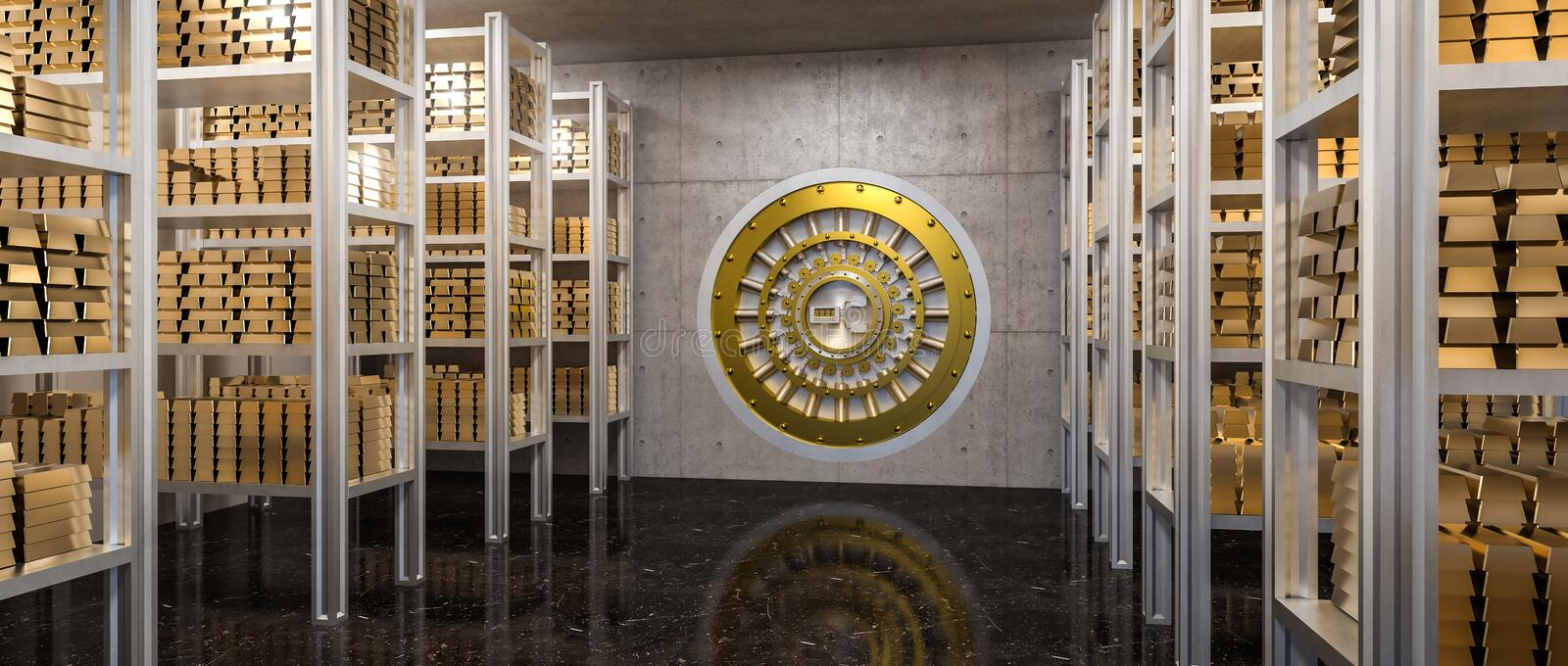 Gold ingot in vault. 3d rendering of gold ingot in bank vault view from inside royalty free illustration
