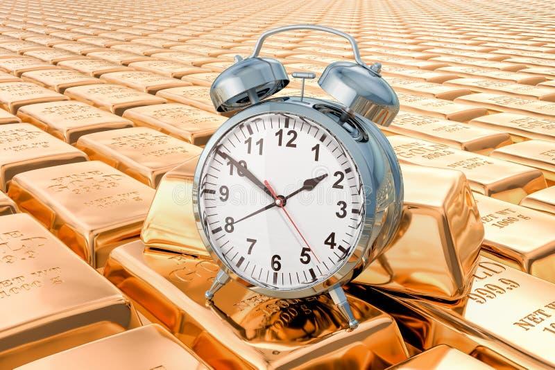 Gold Alarm Clock At 3 PM stock illustration  Illustration of