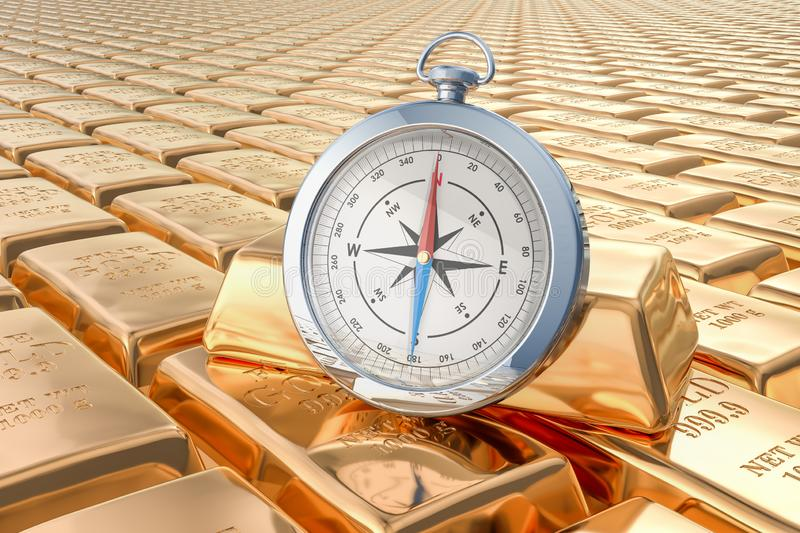Gold ingots background with compass, 3D rendering. Gold ingots background with compass, 3D stock illustration