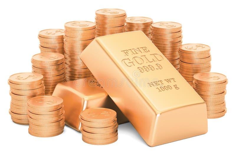 Gold ingots and golden coins, 3D rendering vector illustration