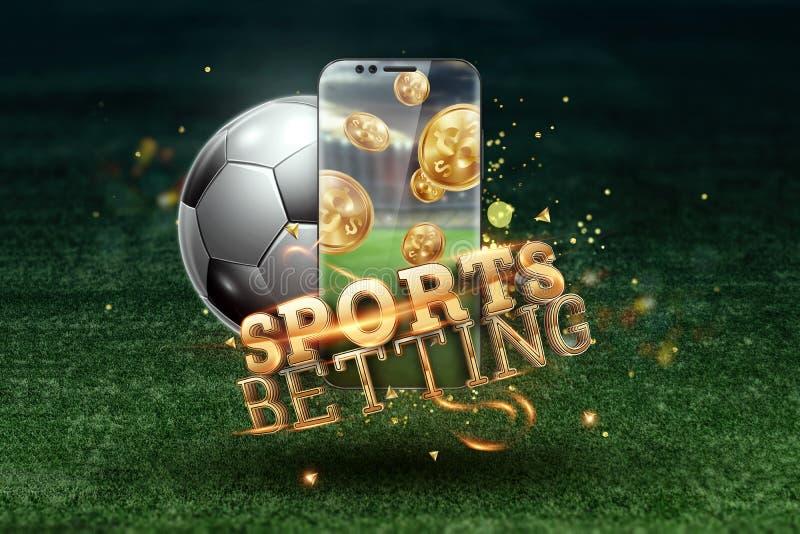 Gold-inscriptie Sports Betting op een smartphone op een achtergrond van groen gras Gezelschapsverlof, sportweddenschappen, bookma royalty-vrije stock foto's