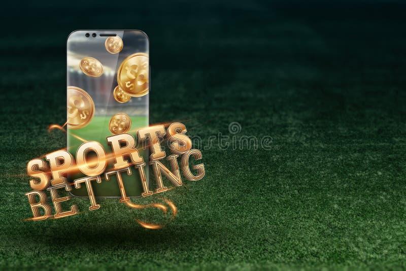 Gold-inscriptie Sports Betting op een smartphone op een achtergrond van groen gras Gezelschapsverlof, sportweddenschappen, bookma royalty-vrije stock afbeeldingen