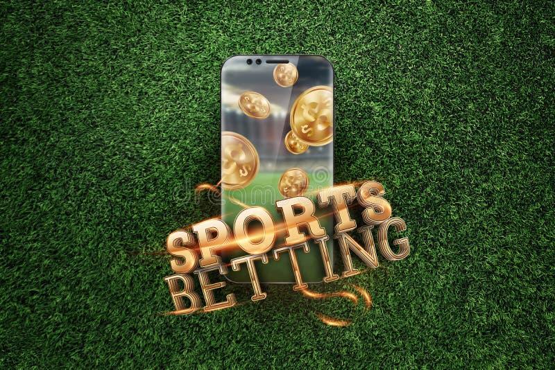 Gold-inscriptie Sports Betting op een smartphone op een achtergrond van groen gras Gezelschapsverlof, sportweddenschappen, bookma royalty-vrije stock afbeelding