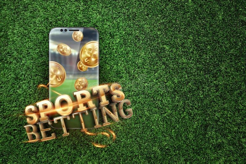 Gold-inscriptie Sports Betting op een smartphone op een achtergrond van groen gras Gezelschapsverlof, sportweddenschappen, bookma royalty-vrije stock fotografie