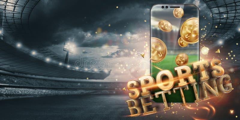 Gold-inscriptie Sports Betting op een smartphone op de achtergrond van het stadion Gezelschapsverlof, sportweddenschappen, bookma royalty-vrije stock afbeelding