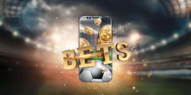 Gold-inscriptie Sports Betting op een smartphone op de achtergrond van het stadion Gezelschapsverlof, sportweddenschappen, bookma stock foto