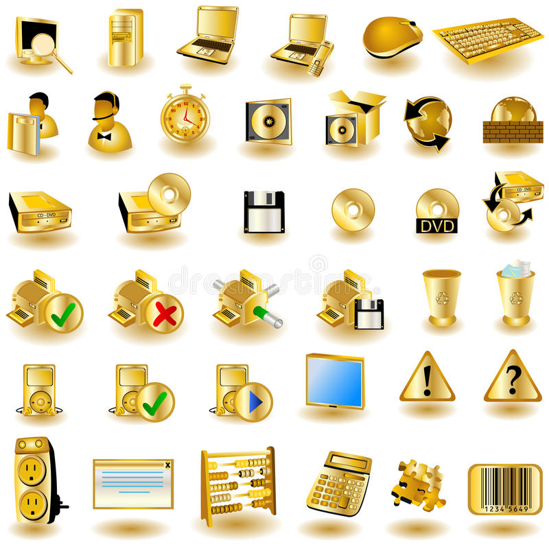 Gold interface icons 2. Huge collection of different interface icons in gold color stock illustration