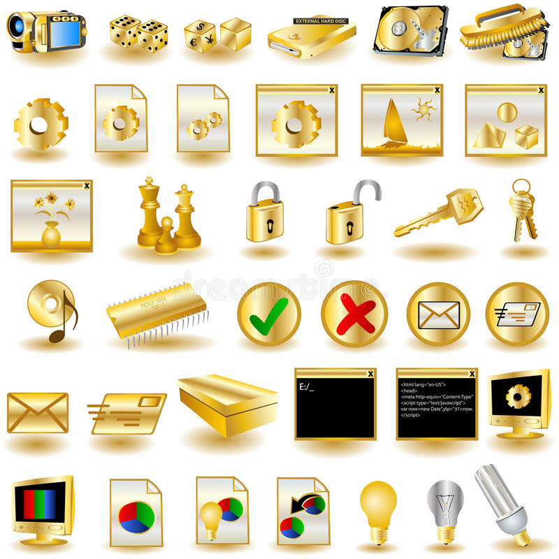 Gold Interface Icons 3. Huge collection of different interface icons in gold color vector illustration