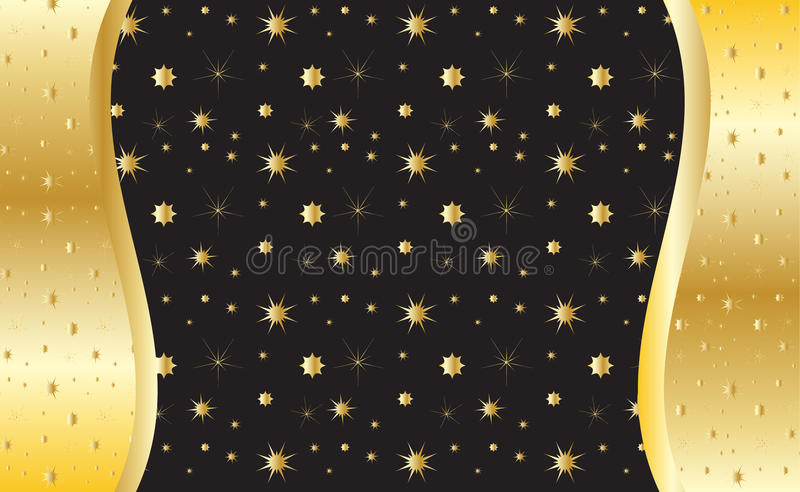 Gold invitation background,. Gold invitation background. Vector. Gold shapes of the different stars on black background. For creating beautiful greeting card royalty free illustration