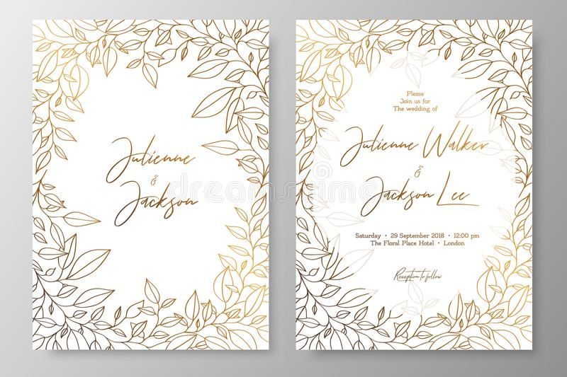 Gold invitation with frame of leaves. Gold cards templates for save the date, wedding invites, greeting cards, postcards, thank yo. U card, menu, flyer and royalty free illustration