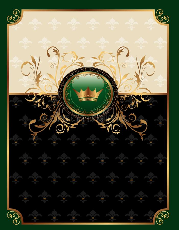 Gold invitation frame or packing royalty free illustration