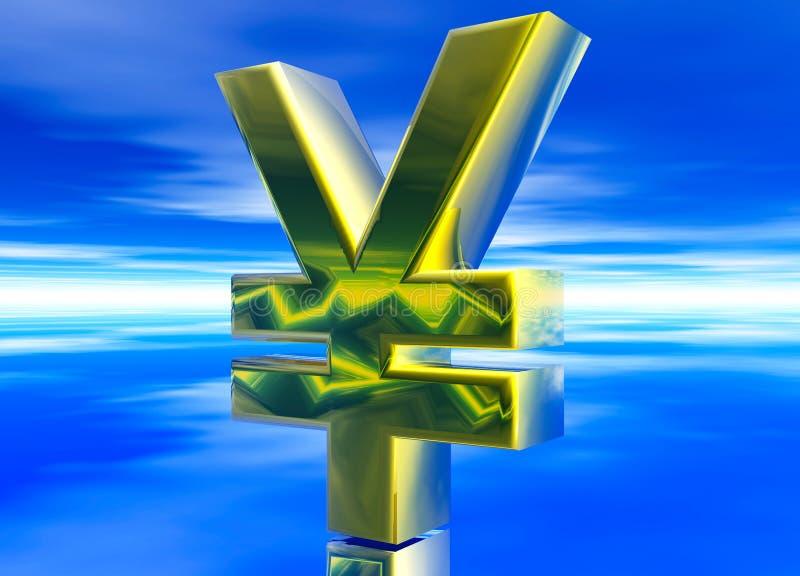 Gold Japanese YEN JPY Currency Symbol. On Blue Background stock illustration