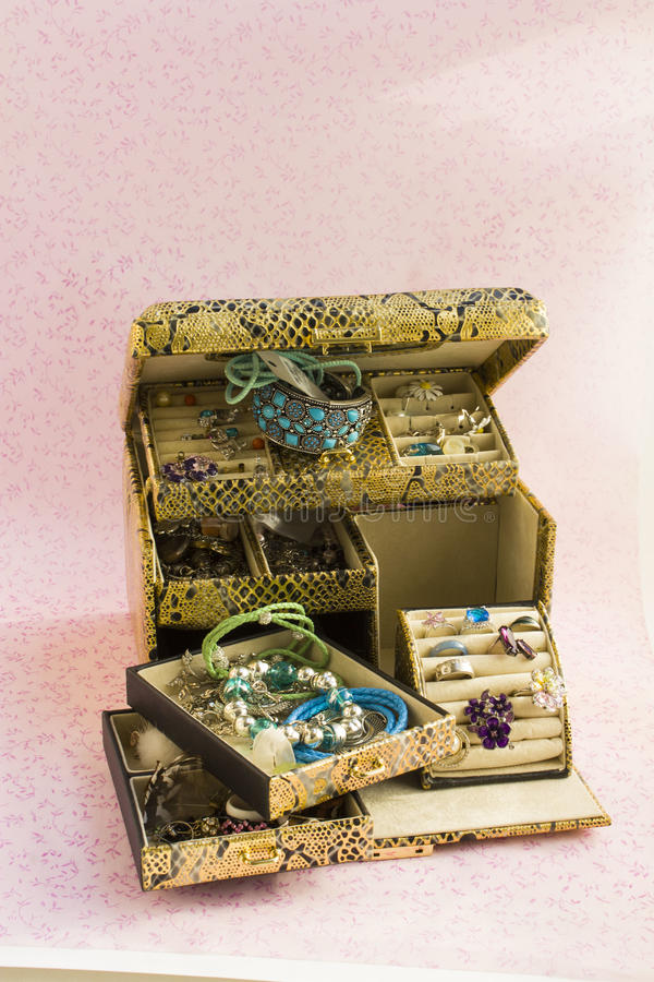 Gold jewellery box royalty free stock photography