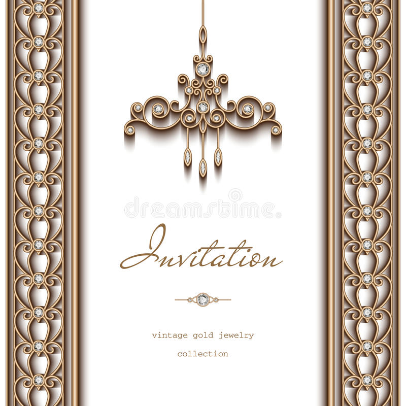Gold jewelry background invitation template stock vector download gold jewelry background invitation template stock vector illustration of diamonds certificate yelopaper Gallery