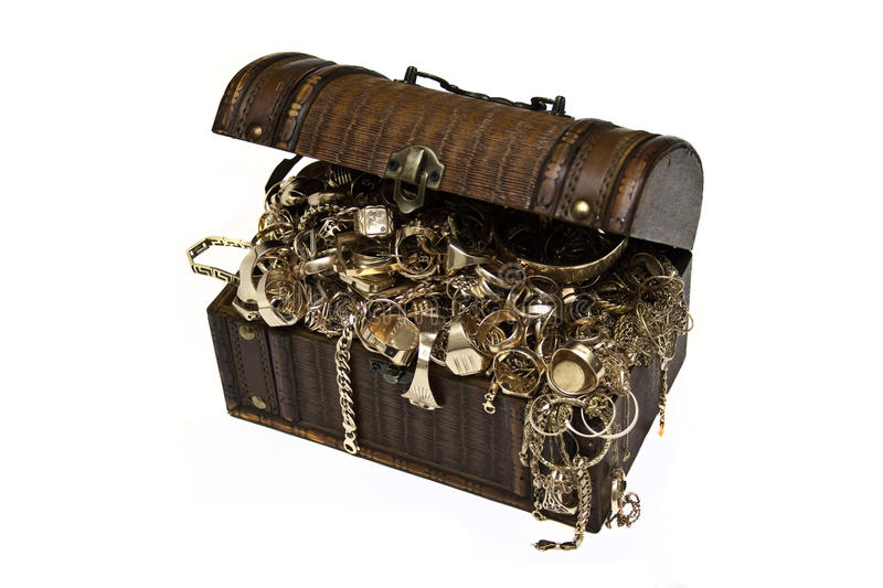 Gold jewelry chest. Gold jewelry in treasure chest royalty free stock images