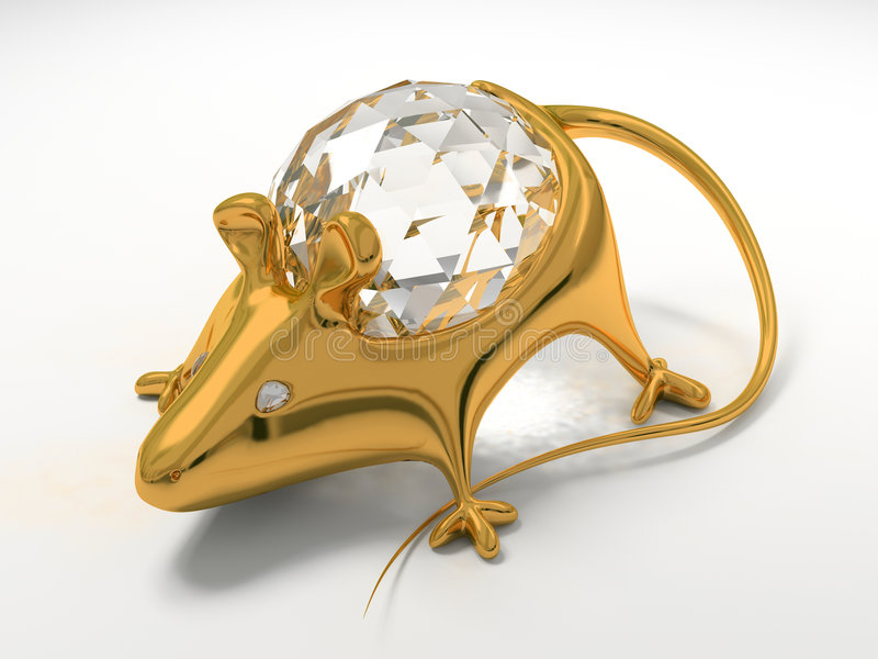 Gold jewelry decoration mouse. With diamond saphire royalty free illustration