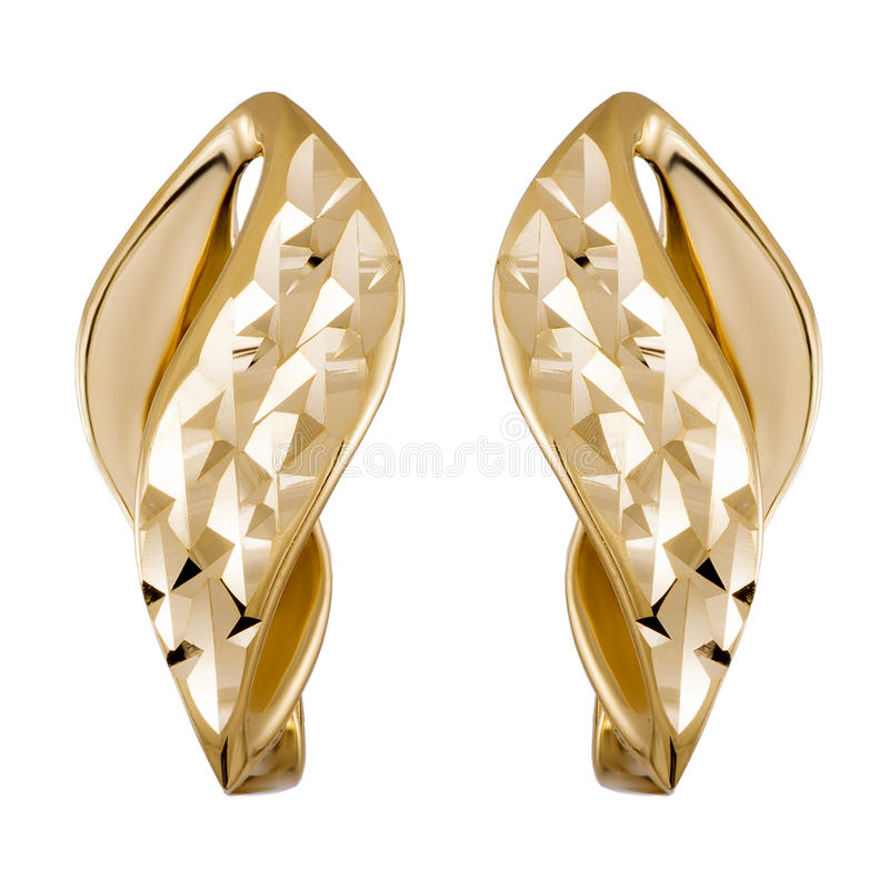 Gold jewelry earrings stock images