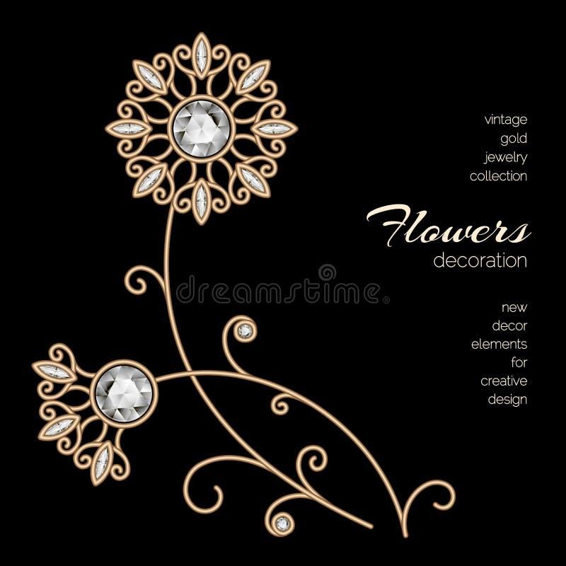 Gold jewelry flowers stock illustration