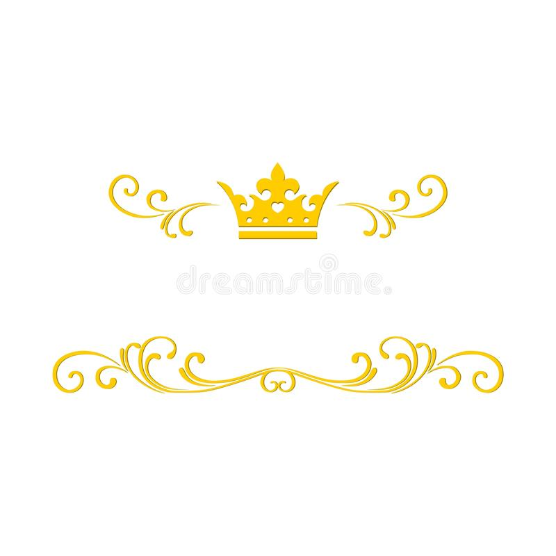 Gold jewelry frame with crown stock illustration