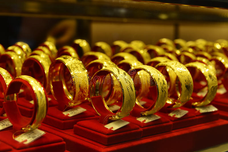 Gold Jewelry In Gold Shop ShowcaseShop Window With A Lot Of