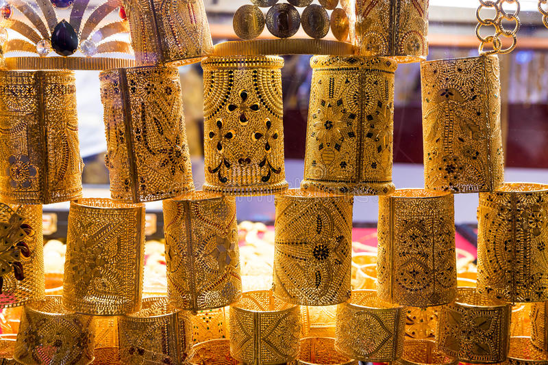 Gold Jewelry At The Grand Bazaar In Istanbul Turkey Stock Image
