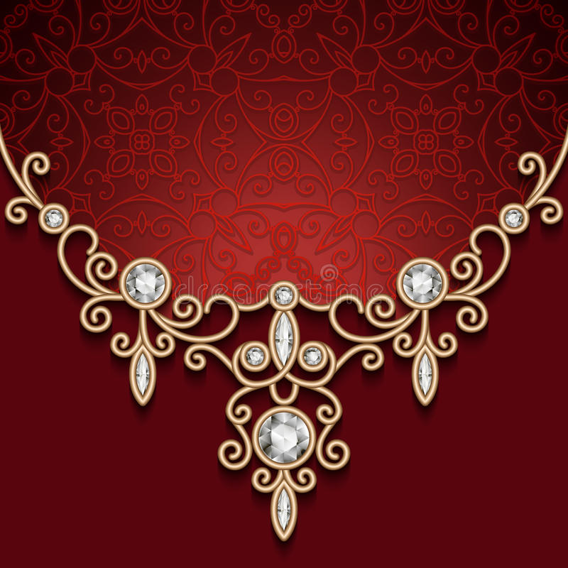 Gold Jewelry Necklace On Red Background Stock Vector Illustration