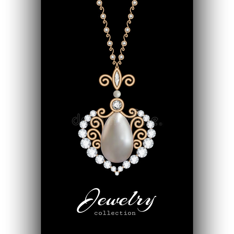Gold jewelry pendant on black royalty free illustration