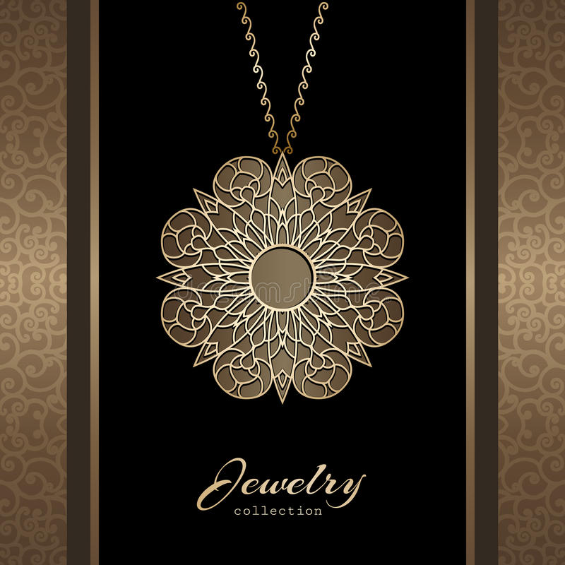 Gold jewelry pendant. Elegant jewelry gold pendant, jewellery locket with chain, ornamental gold medal royalty free illustration