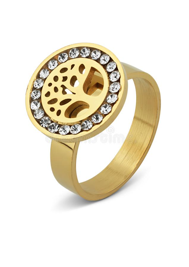 Gold Jewelry ring with diamonds isolated on white royalty free stock image