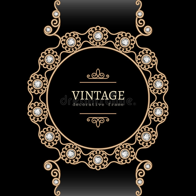Free Gold Jewelry Round Frame Royalty Free Stock Images - 39949819