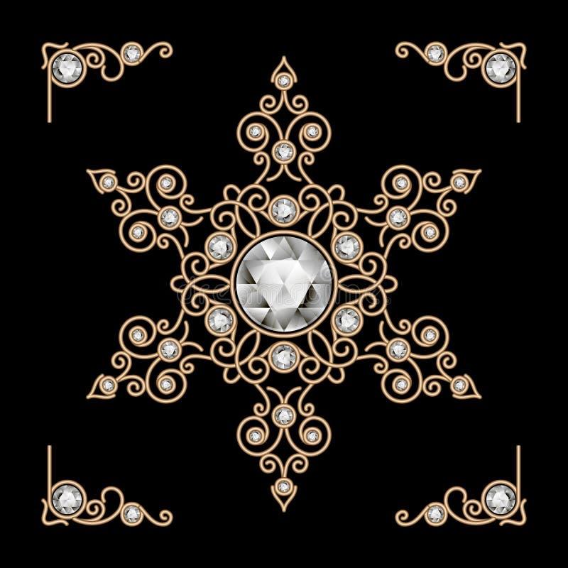 Gold jewelry snowflake. Vintage gold jewelry snowflake decoration on black royalty free illustration