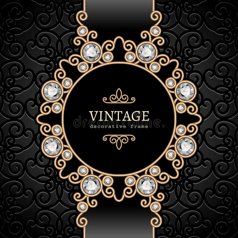 Gold jewelry vignette. Vintage gold background, elegant diamond vignette, swirly jewelry frame vector illustration