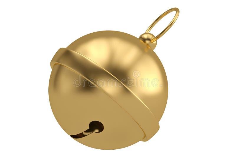 Gold jingle bell isolated on white background 3D illustration.  vector illustration