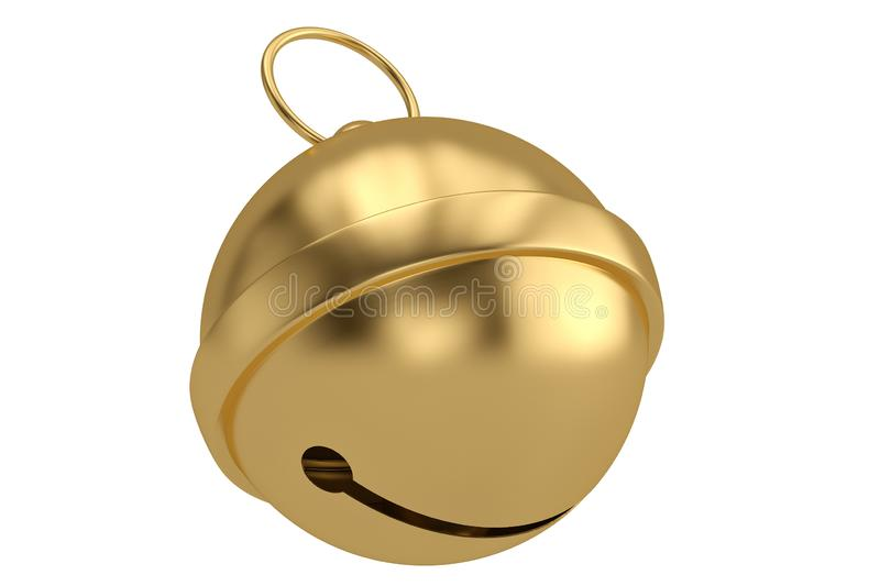 Gold jingle bell isolated on white background 3D illustration.  royalty free illustration