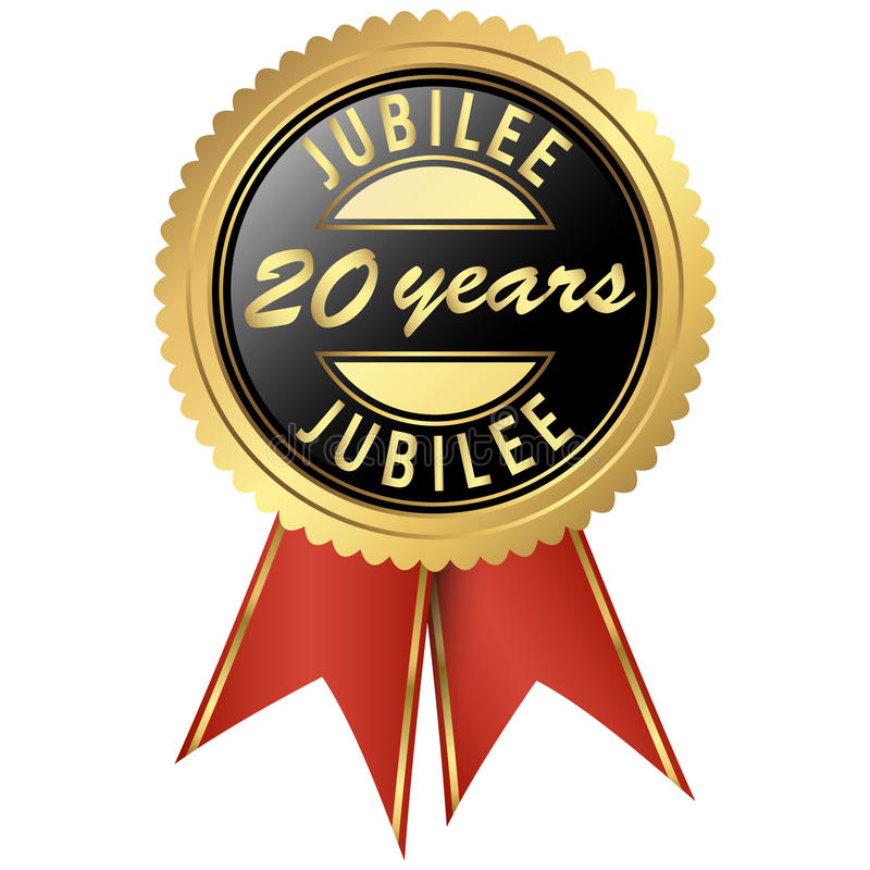 Gold jubilee seal. Seal colored black and gold with red ribbons for twenty years jubilee vector illustration