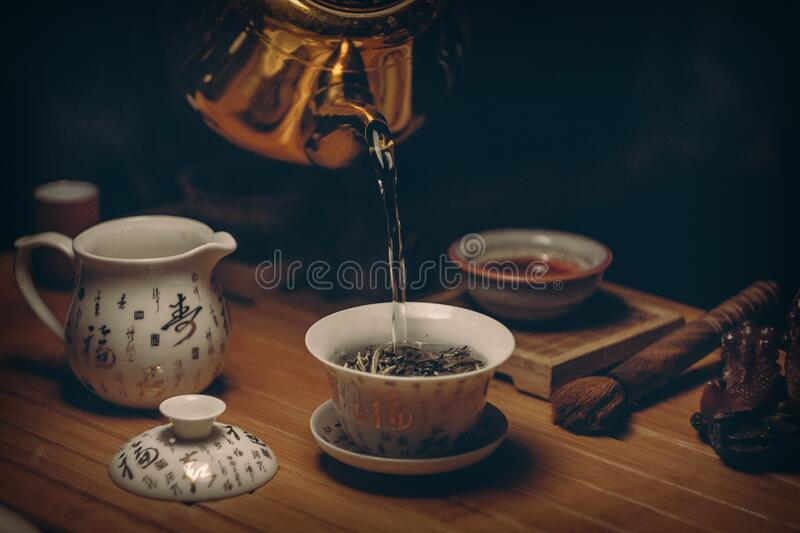 Gold Kettle Pouring Hot Water On Cup Of Tea Free Public Domain Cc0 Image