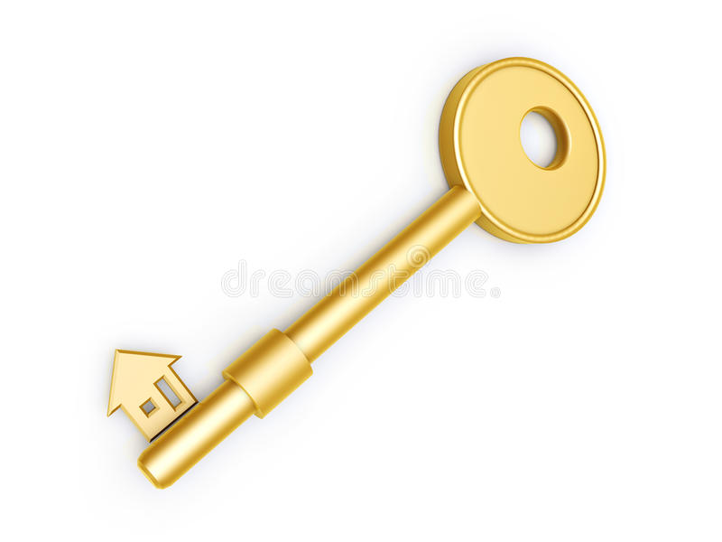 Download Gold Key With House Profile Stock Image - Image: 19713221