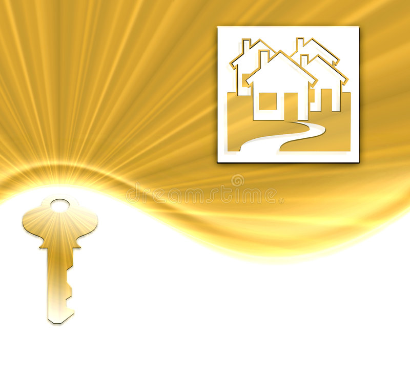 Gold key and houses. Sparkling gold key and houses on gold burst wave background with white copyspace