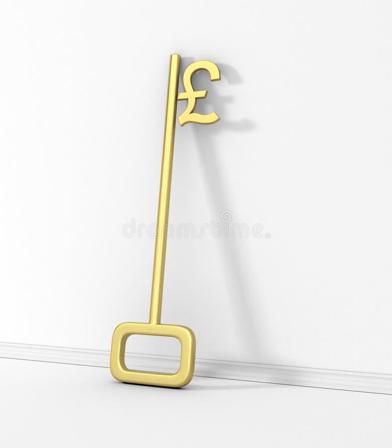 Gold Key with Pound Symbol. vector illustration