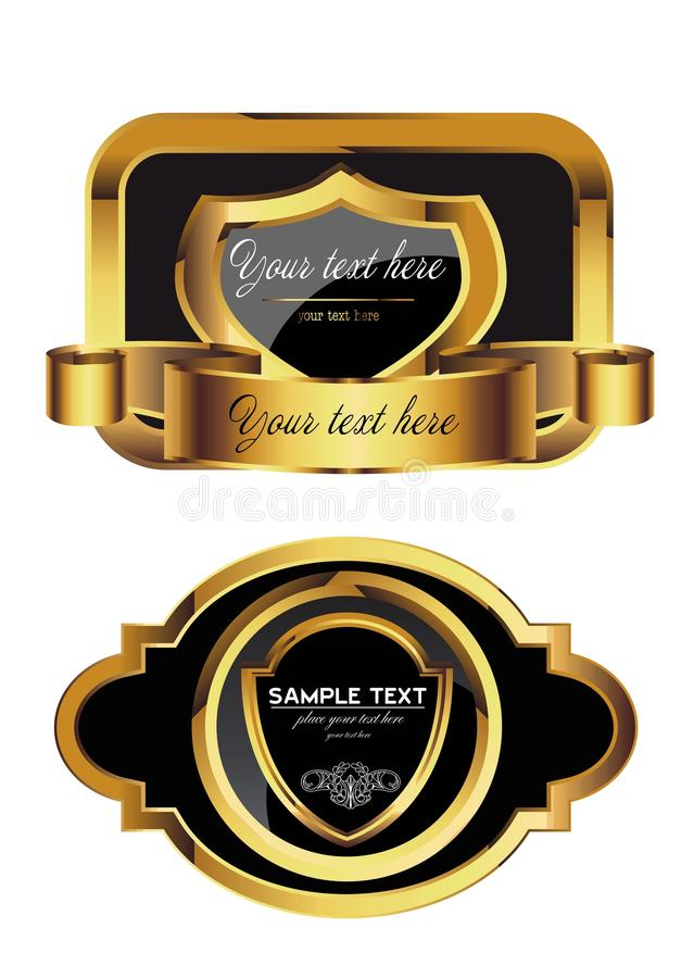 Gold label. Two luxury label suitable for alcoholic drinks and many other stock illustration