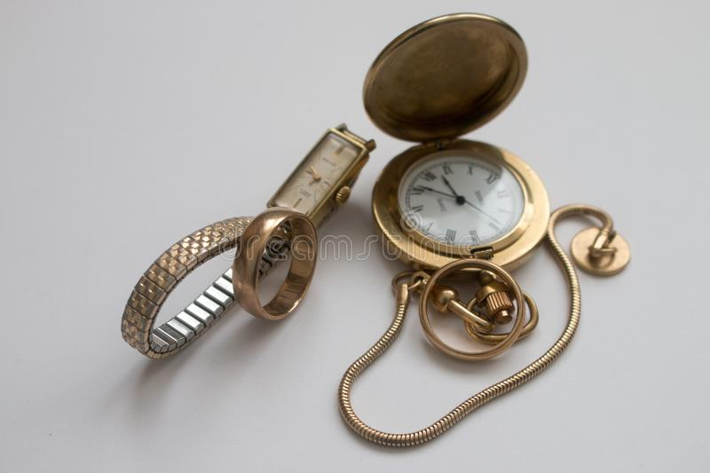 Old Fashioned Watches And Ring Stock Image Image of finger ladies